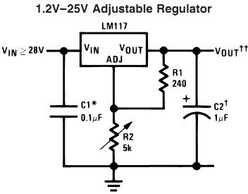 lm117系列是一款三端子-输出电压可调节稳压芯片,该芯片可提供